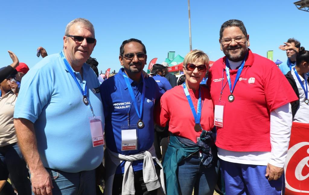 Proudly showing off their medals. From left DG Adv Brent Gerber, HOD at Treasury, Zakariya Hoosain, Minister Anroux Marais and HOD at DCAS, Brent Walters