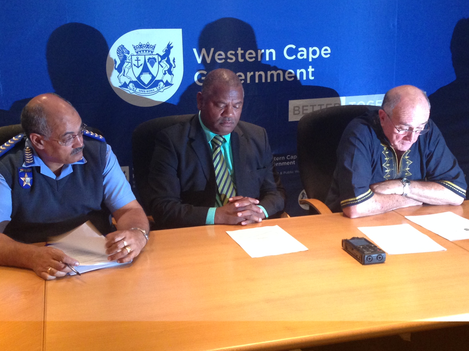 Provincial Traffic Chief, Kenny Africa, Minister Plato and Minister Carlisle at the media briefing today