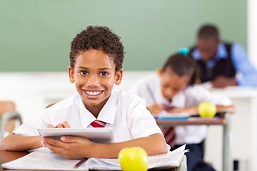 schoolboy in class