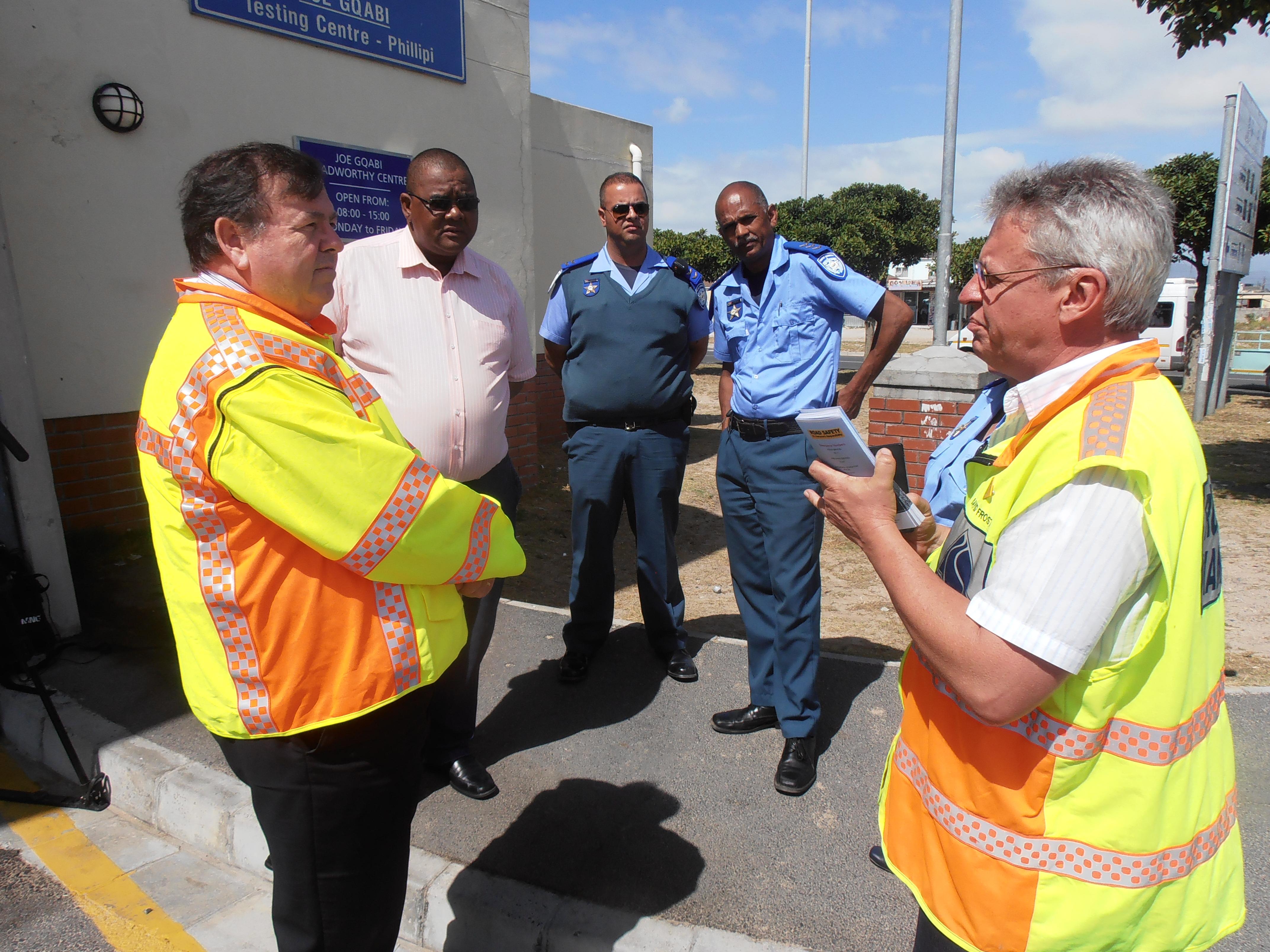 Minister Grant and officials at Joe Gqabi Public Transport Interchange.