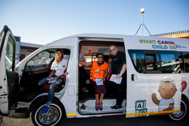 Western Cape Minister of Health, Dr Nomafrench Mbombo, and Minister of Social Development conducted a walkabout at the City of Cape Town's Station Deck Taxi rank early this morning whilst showcasing the campaign's branded taxi's.