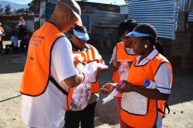 All community Care workers are equipped with the necessary items, such as sputum bottles, gloves, pens and referral forms before setting off on their rounds.
