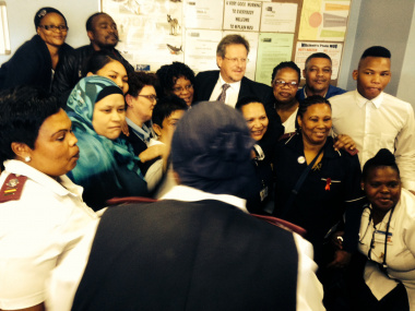 Western Cape Minister of Health, Theuns Botha, with the staff from the Mitchells Plain CHC Maternity Unit.