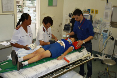 Clinical staff evaluating one of the patients