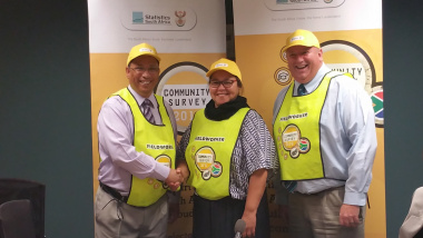 Finance Minister, Dr Ivan Meyer with the Operations Manager of Stats SA, Ms Tasneem Solomon and Executive Manager of Stats SA, Mr Marius Cronje.