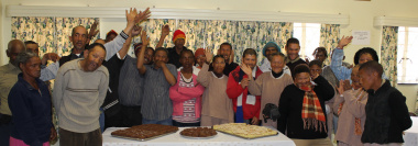 A group of mental health patients enjoyed some cake as part of the celebrations.