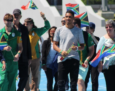 400-metre world champion Wayde van Niekerk led the lap of honour around the Green Point Athletics Stadium.