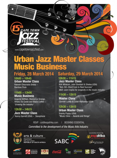 The Cape Town International Jazz Festival will be hosting various workshops on 28 and 29 March 2014.