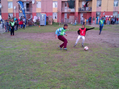 A battle of the fittest between Mano and Keanu from Connaught Estate during Street Soccer tournament