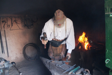 A black smith demonstration by cobbler Michael Pope