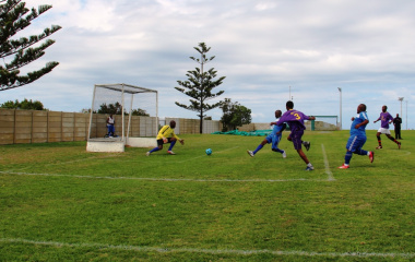 A close soccer match between DCAS and the Department of Health.
