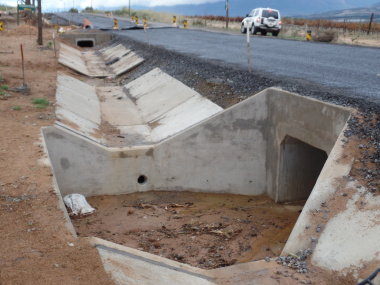 A completed drainage structure.