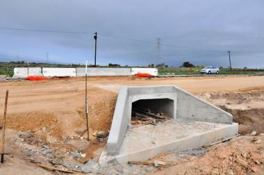 A culvert under construction.