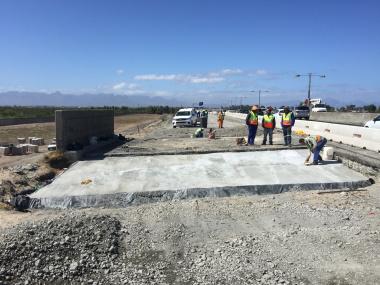 A newly-cast concrete slab.