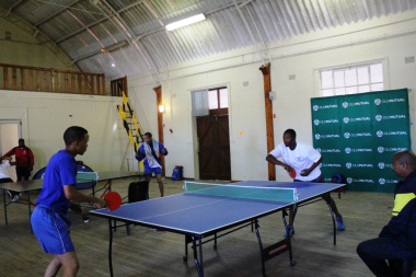 A table tennis match in full swing between staff from DCAS and Cederberg Municipality