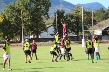A throw-in during a rugby game between Upper West Coast and Overberg