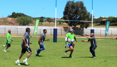 A touch rugby match between Transport and Public Works, and Saldanha Bay Municipality