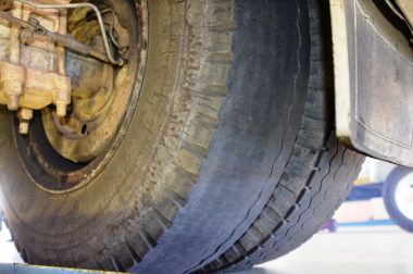 A worn-out tyre found during an inspection.