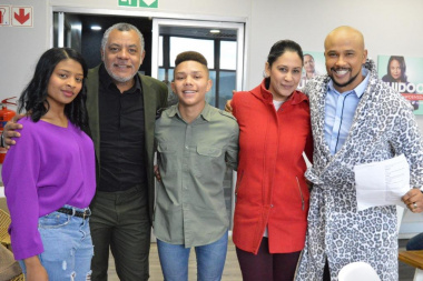 Abdu, Simone and Irshaad with the two famous DCAS celebrities