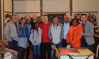Aden and Karabo with some of the Suidooster cast members with Guy Redman, Jane Moleleki and Moeniel Jacobs from DCAS.