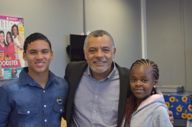 Aden and Karabo with their mentor, Abduraghmaan Adams who plays the role of Ian in Suidooster.