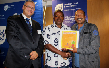 "Adv. Lyndon Bouah (DCAS), Eric ""Ace"" Khombela and Mr Gerald Don (SAFA Western Cape)."