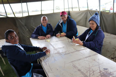 AFB Overberg donated a tent in the middle of the sports field for the domino players