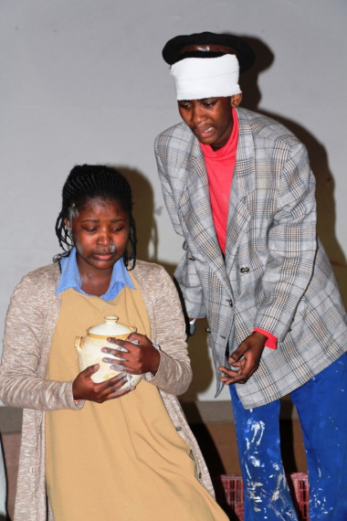 Africa Calling during the performance of their play Questionmark