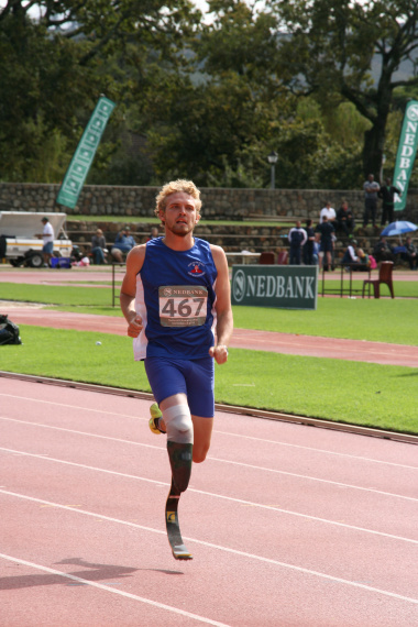 Africa Record breaker Evan Engelbrecht in the last stretch of the 400m sprints