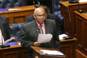 Minister of Social Development Albert Fritz delivers the budget speech for the 2012/2012 financial year.