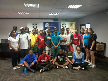 Alliyah Allie (administrator) & Stephanie McKay with athletes and coaches of Eden Sport Academy