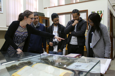 Amy van Wezel from Archives explains one of the exhibits at the Archives Building in Roeland Street, Cape Town