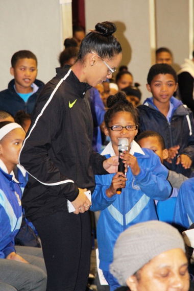 An excited learner taking part in the question-and-answer session