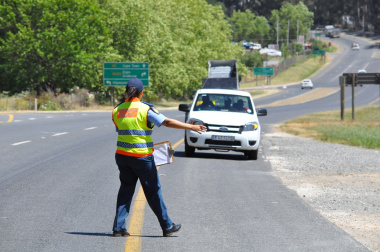 An integrated roadblock activity on the N2 near Grabouw.