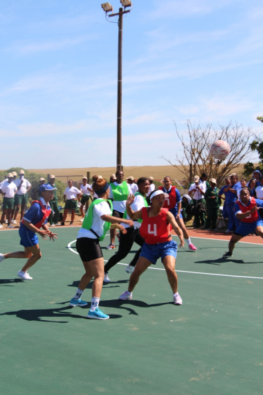 An intense netball match between DCAS and Saldanha Municipality