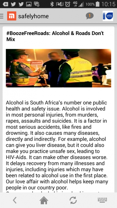 Screenshot of the Safely Home Mxit App.