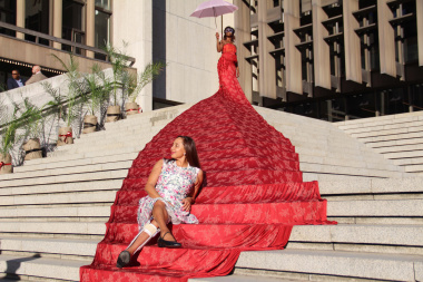 Artscape CEO Marlene Le Roux with one of the installations that welcomed guests to the Cultural Affairs Awards