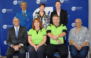 Ashley and Mari Ware-Lane with representives from DCAS, Cape Mental Health, Cape Town Sports Council and the Western Cape Sports Confederation