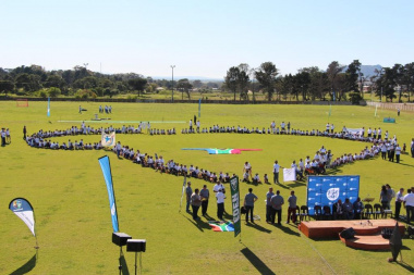At the end of the march the learners lined up in the formation of Africa