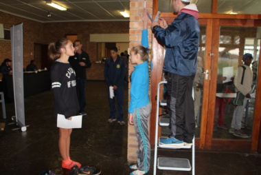 Athletes partaking in Anthropometry – the measuring of individuals