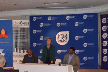 Author Watu Kobese, Minister Anroux Marais and Xolisa Tshongolo of DCAS during the launch