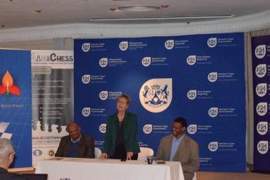 Author Watu Kobese, Minister Anroux Marais and Xolisa Tshongolo of DCAS during the launch