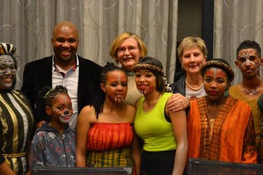 Back from left, Standing committee chairperson Ricardo Mackenzie, Premier Helen Zille and Minister Anroux Marais with some of the cast members