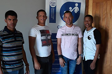 The Bitterfontein e-Centre staff, from left Keagan Benting (Development Manager), Pay Intern Franklin Fenskey, Aldo Owies (Centre Manager) and Pay Intern Heinrich Otta are ready to assist you.