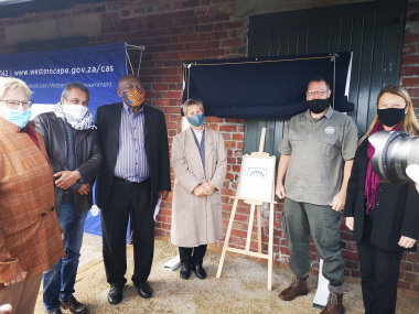 (From left) Ward councillor, Nora Grose; Chairperson of Heritage Western Cape Interpretation Grading and Inventories Committee, Ron Martin; Chairperson of the Heritage Western Cape Council, Adv. Mandla Mdludlu; Minister Anroux Marais; Blaauwberg Nature Re