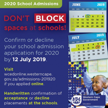 Admissions 2019/20 - Don't block spaces