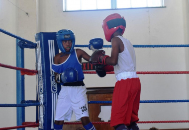 Boxers in the cadet category gave it their all during the match.