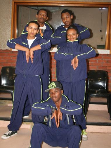 Bradley Michaels, Sarel Wiese, Shandre Weimers, Naydine Greeff and Chad Mankayi of the Saldanha Bay dance crew, TK EXPLOSIVES.