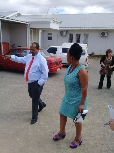 Minister Mbombo with Prince Albert Mayor Mr. Lottering.