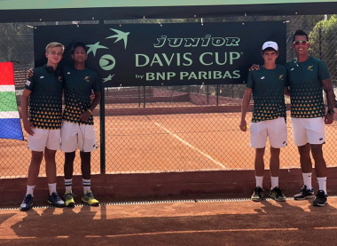 Carl Roothman (second right) represented South Africa at the Junior Davis Cup